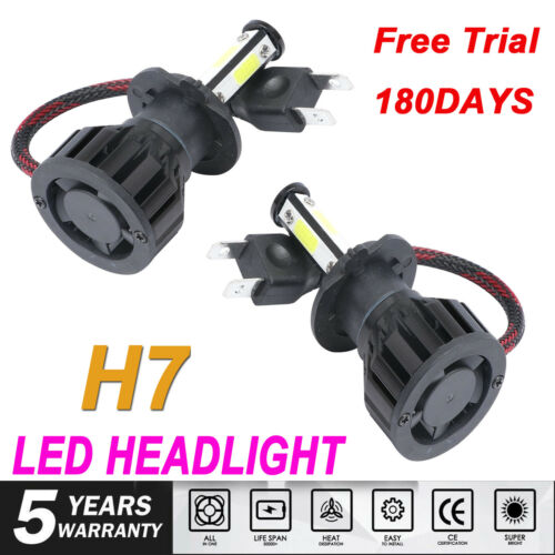 4-sides H7 LED Headlight Conversion Kit 2000W 6000K 300000LM Bulb High or Low