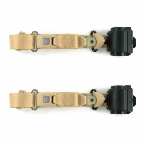 Jeep Wrangler//TJ 1997-2006 Standard 3pt Tan Retract Bucket Seat Belt Kit-2