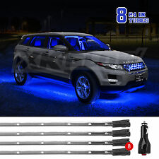 BLUE Waterproof 8pc Wide Angle LED Slim Tube Car Truck Underbody Light Kit