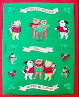 Vintage 1990 Hallmark Christmas Bears,cats, Dogs 1 Sticker Sheet