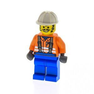 1x-Lego-Figur-Mann-Bauarbeiter-Torso-orange-Bart-Beine-blau-Helm-weiss-con003