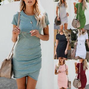 Women-Asymmetric-Bodycon-Dress-Short-Sleeve-Sleeveless-Mini-Dresses-Holiday