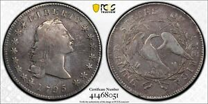 1795-FLOWING-HAIR-SILVER-DOLLAR-RARE-2-LEAF-VERSION-PCGS-VF-DETAILS-CLEANED