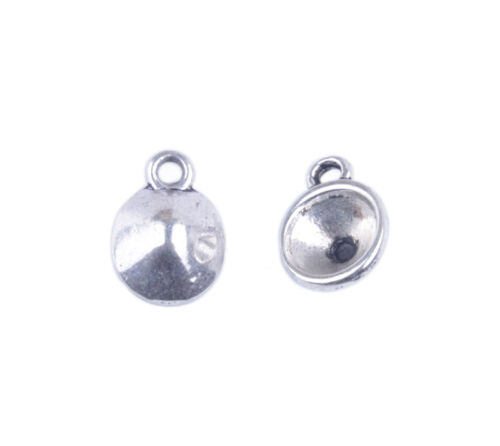 100PCS Tibetan Silver 8mm Rivoli Plain Round Settings Charms