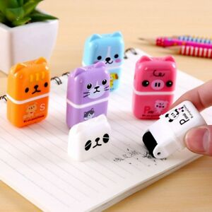 Cute-Roller-Animal-Rubber-Pencil-Eraser-Set-Stationery-Novelty-Children-New