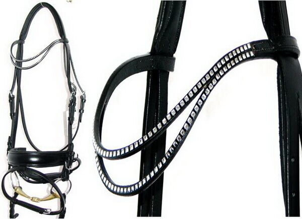 FSS GLEAM Double Curve U SHAPE Crystal CLEAR SQUARE Bling Comfort Crank Bridle