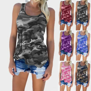 Plus-Size-Women-Camouflage-Tank-Tops-Vest-Shirt-Sleeveless-Army-Camo-Cami-Tee-AU