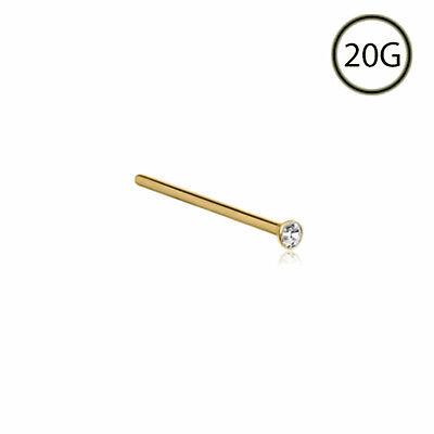 24k Gold Nose Stud Ring Straight 1 5mm 20 Gauge Bezel Ebay