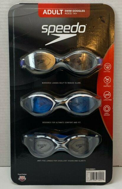 Speedo 3 Pack Adult Swimming Goggles Anti Fog UV Protect Latex Free Easy Adjust