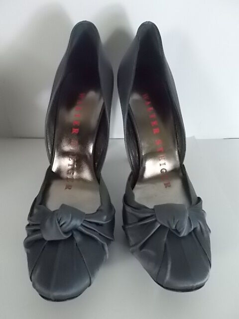 WALTER WALTER WALTER STEIGER Bolla Satin Ruched Knotted High Pumps Sz 39.5 NIB  795 BLK 5655ef