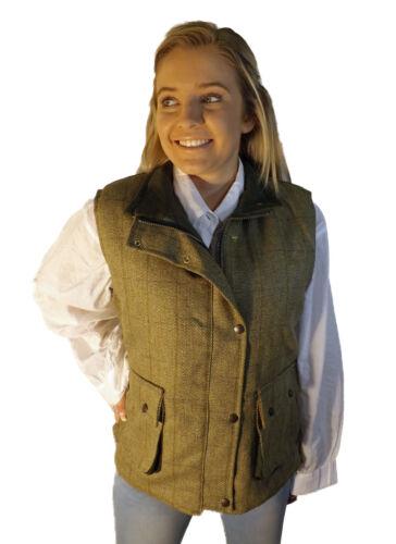 Campbell Cooper Damen Tweed Schießen Riding Jäger Weste Grün Neu