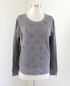 f800e71a J Crew Factory Womens Gray Beaded Crewneck Sweatshirt Sweater Size S ...