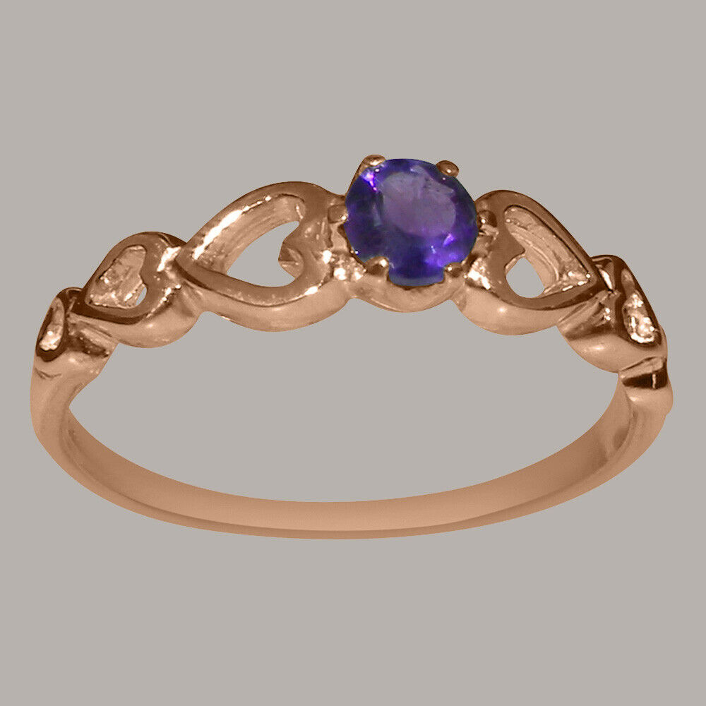 Solid 10k pink gold Natural Amethyst Womens Solitaire Ring - Sizes 4 to 12