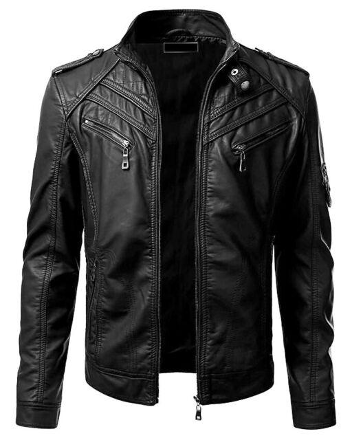New Men S Genuine Lambskin Leather Jacket Black Slim Fit Biker Motorcycle Jacket