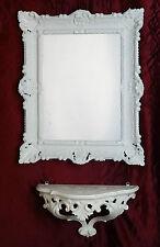 Wandspiegel mit Konsole Spiegelablage 56x46 ANTIK BAROCK 811 Eingangsmöbel WEiß