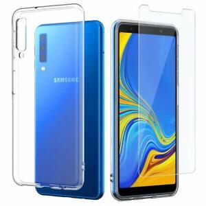 Coque-Transparent-Film-Vitre-Verre-Trempe-Pour-Samsung-Galaxy-A7-2018-Au-Choix