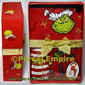 fashion style of 2019 suitable for men/women new lifestyle Details about OFFICIAL Dr. Seuss GRINCH Warm Pyjamas Box Set Primark Socks  Cosy Fleece PJ Xmas