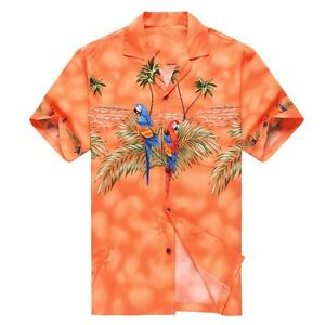 Made-in-Hawaii-Men-Hawaiian-Aloha-Shirt-Luau-Cruise-Party-Parrots-Palm-Orange