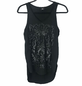 Womens Black Print Sleeveless Mossimo Top XS