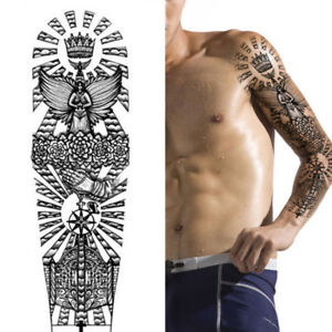 Angel Star Roses Tribal Cross King Temporary Tattoo Arm Sleeve Large