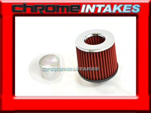 """RED UNIVERSAL 2.5/"""" CHROME TOP AIR FILTER FOR DODGE//JEEP AIR INTAKE+PIPE"""