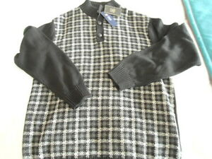 Mens Size Large Chaps Gray & Black Plaid Winter Sweater NEW