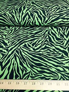 Details about Green/Black Tiger Animal Print 4 Way Stretch Heavy Poly Lycra  Fabric 58