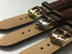 GENUINE-LEATHER-GENTS-WATCH-STRAPS-FOR-OMEGA-18MM-20MM-BROWN-3-X-COLOR-BUCKLE