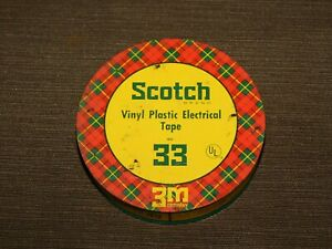 "VINTAGE 3 1/2"" ACROSS SCOTCH VINYL PLASTIC ELECTRICAL TAPE 33 TIN CAN  *EMPTY*"