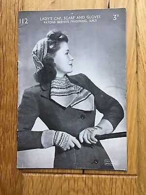 Vintage Patons Knitting Pattern For Lady/'s Hat And Gloves