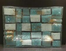 Higgins Studio Glass Blue and White Checker Board Large Ashtray - MINT