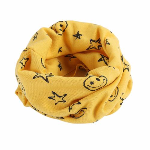 Kids Winter Warm Scarf Cartoon Smiley Face Pattern Cotton Ring Neckerchief N7