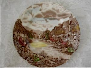 Collectible-Brown-Staffordshire-Village-Scenic-Plate-Made-in-England