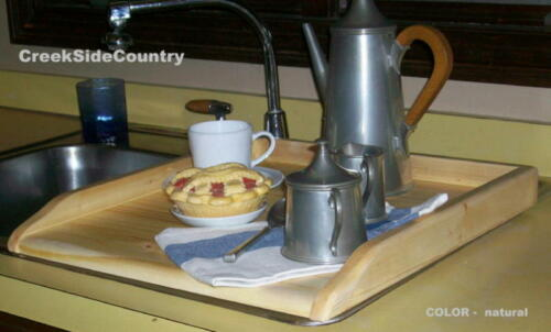 clear natural wood finish PRIMITIVE KITCHEN SINK COVER