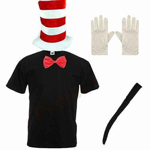 8-18 LADIES WOMENS ADULTS CAT T SHIRT HAT BOW TAIL FANCY DRESS COSTUME BOOK DAY