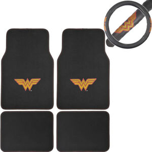 Details About New Wonder Woman Car Truck Front Rear Carpet Floor Mats Steering Wheel Cover