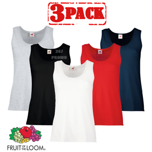 9df36b142faafd Fruit Of The Loom LADIES VEST SUMMER TANK TOP COTTON PLAIN COMFORT XS-2XL  OFFER