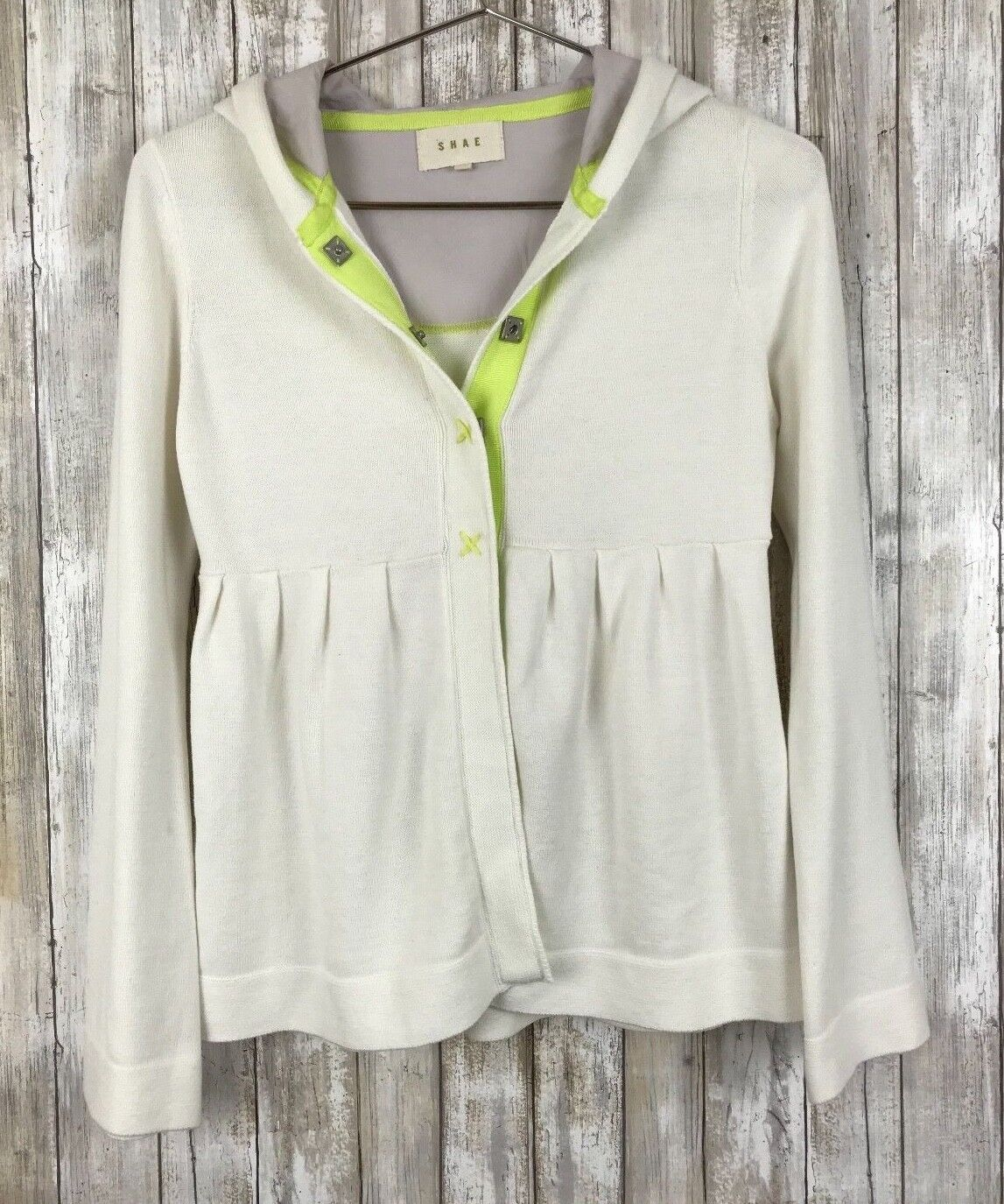 Anthropologie Shae Ivory Green Green Green Snap Closure Hooded Open Cardigan S Small 1ada2a
