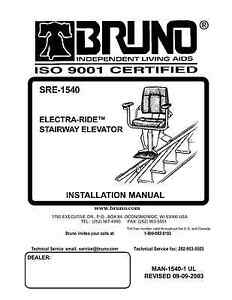 INSTALLATION  MANUAL & OWNERS MANUAL- CD Copy - Bruno SRE-1540 Electra Ride