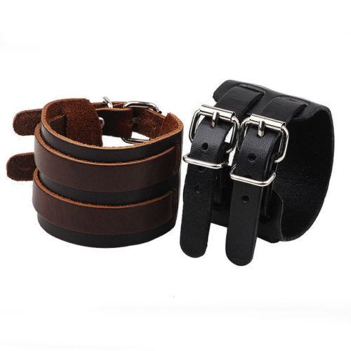 Handmade In England Twin Strap Black Brown Wrist Cuff GENUINE LEATHER