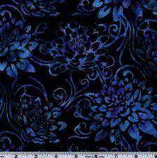 Hoffman Bali Batik BLK 4003 Blue Floral On Black By The Yard