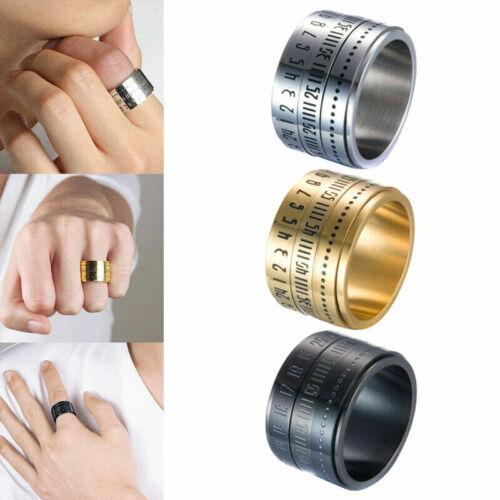 Jewelry Retro Wide Rotatable Number Clock Time Best Color Titanium Steel Ring hi