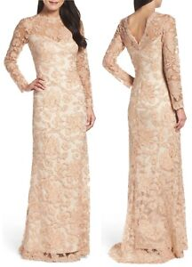 Image Is Loading 588 Tadashi Shoji Embroidered Tulle Lace Gold Cording