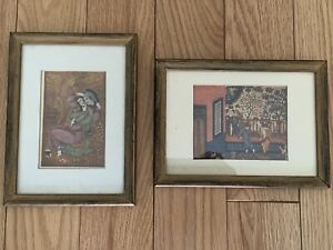 2-vintage-asian-Color-Prints-Wood-framed-Matted-Glass-5-7x7-7-and-3x4-3-Inches