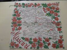 Vintage State Souvenir Handkerchief Hankie Missouri Map Scalloped Edges