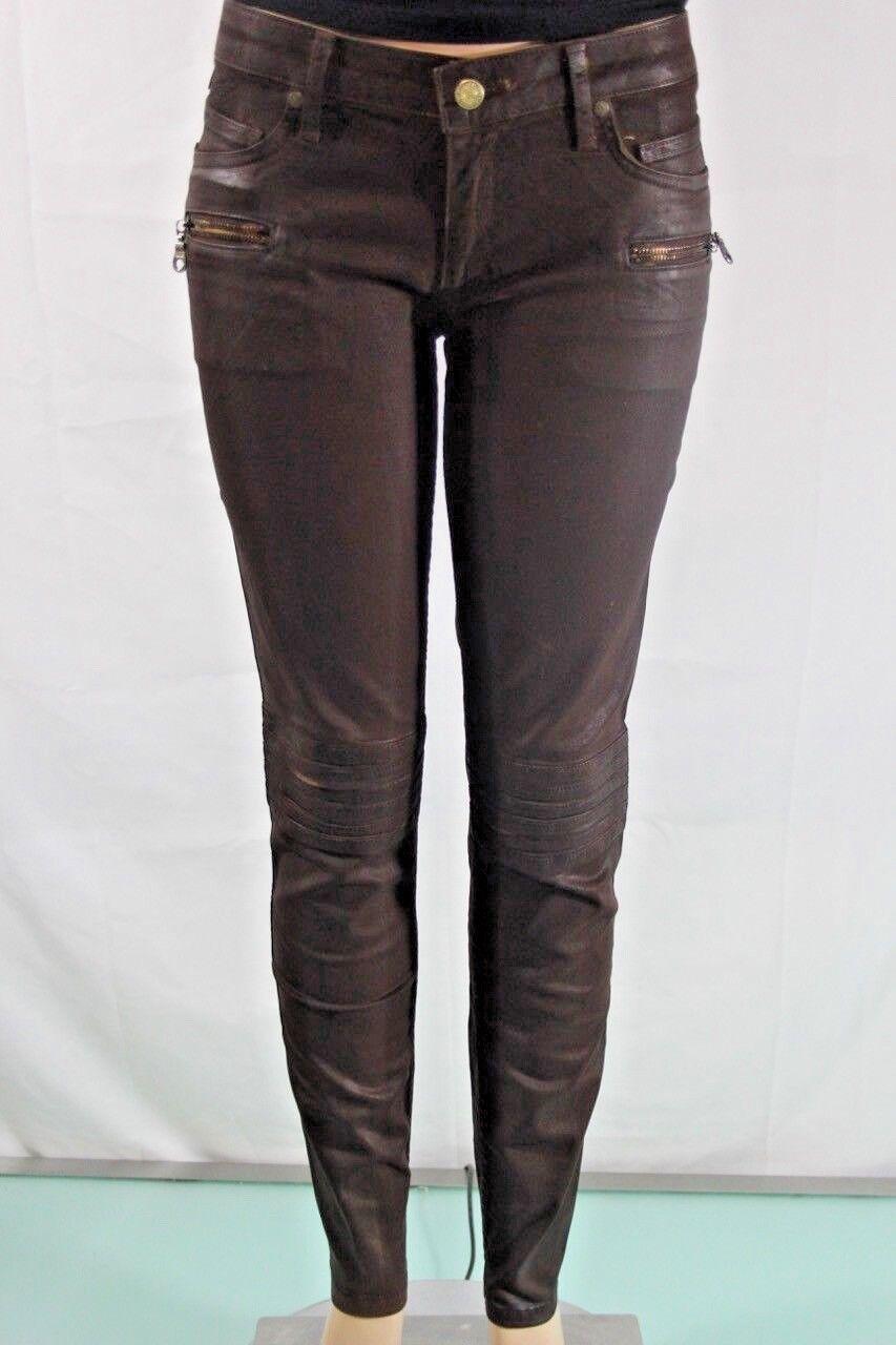 Robin S Jeans Neu Damen Skinny Braun Moto 8 Reißverschluss Tasche Sz 31 in USA