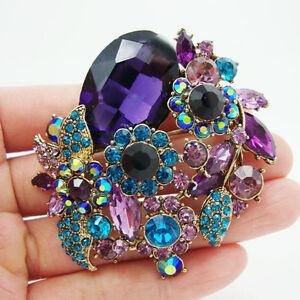 Gorgeous-Flower-Leaf-Purple-Rhinestone-Crystal-Pendant-Brooch-Pin