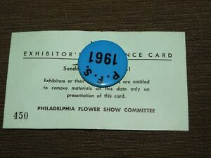 VINTAGE-PINBACK-BUTTON-1961-PHILADELPHIA-FLOWER-SHOW-EXHIBITOR-HORTICULTURAL-SOC