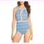 Tommy-Bahama-Women-039-s-Tika-Tiles-High-Neck-double-strape-One-Piece-Swimsuit thumbnail 1