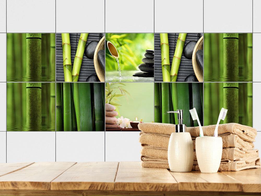 Fliesenbilder Klebefliesen Fliesen Bad bekleben Bambus Steine Relax Entspannen